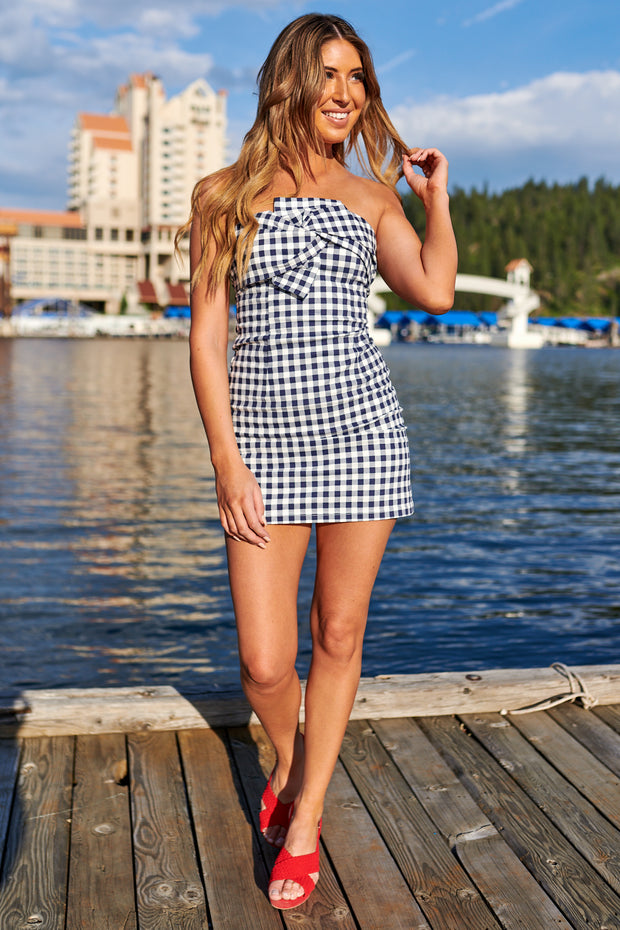 Plaid You Did Strapless Dress (Navy)