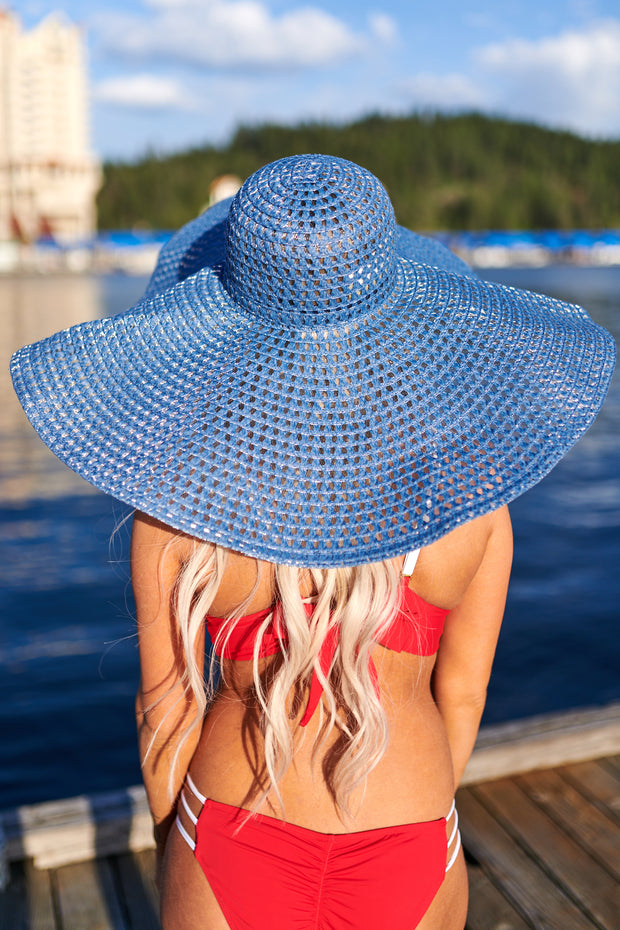 Under Cover Wide Brim Straw Hat (Blue)