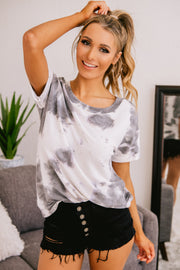 Live A Little Tie Dye Top (Off White) - NanaMacs