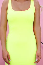 Center Of Attention Dress (Neon Yellow)