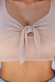Too Tied Up For You Crop Top (Cocoa)
