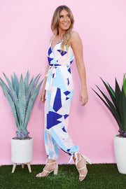 Colorful Lifestyle Jumpsuit (Ivory/Blue/Peach)