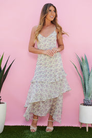 Shadow Blooms Dress (Ivory Multi)