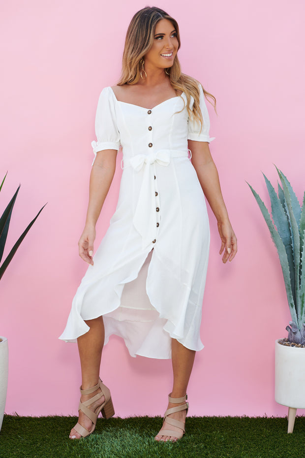 Sofie Button Front Midi Dress (Off White) - NanaMacs