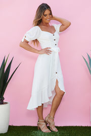 Sofie Button Front Midi Dress (Off White)