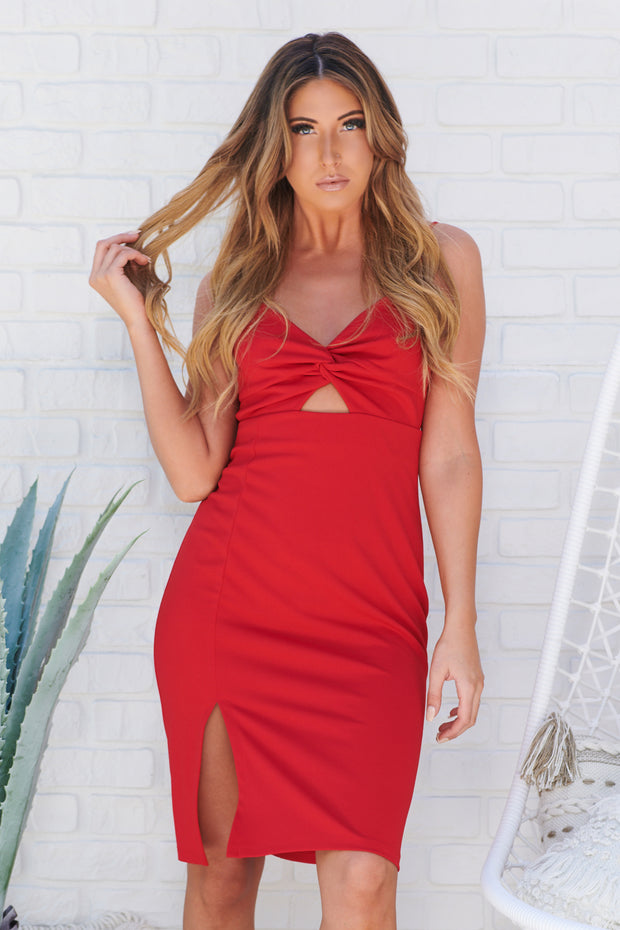 Heart Eyes Bodycon Dress (Red)