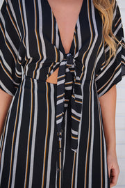 Call It A Tie Striped Dress (Black/Gold Yellow)