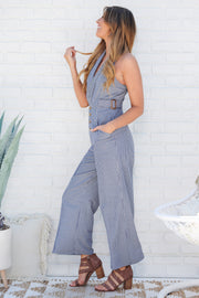 Straight Down To Business Jumpsuit (Navy)