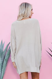 Feeling Warm Crop Top And Cardigan Set (Dove)
