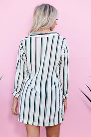 Calliope Striped Long Sleeve Top (Ivory/Green)