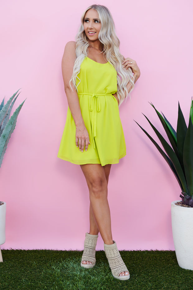 Feel Like Dancing Tie Dress (Citrus Green)