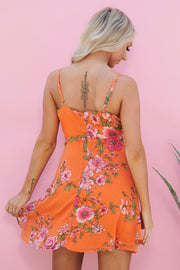 Spring In Your Step Ruffle Dress (Orange Floral)