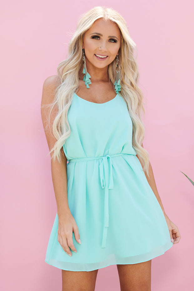 Feel Like Dancing Tie Dress (Powder Sage)