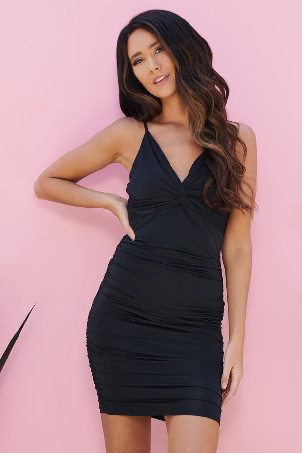 Cocktail Hour Twist Front Bodycon (Black) - NanaMacs