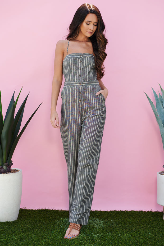 Get To You Striped Jumpsuit (Charcoal)