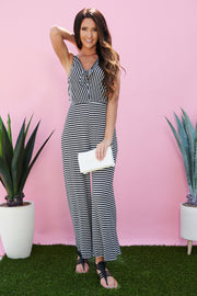 Your Tie To Shine Striped Jumpsuit (Black)