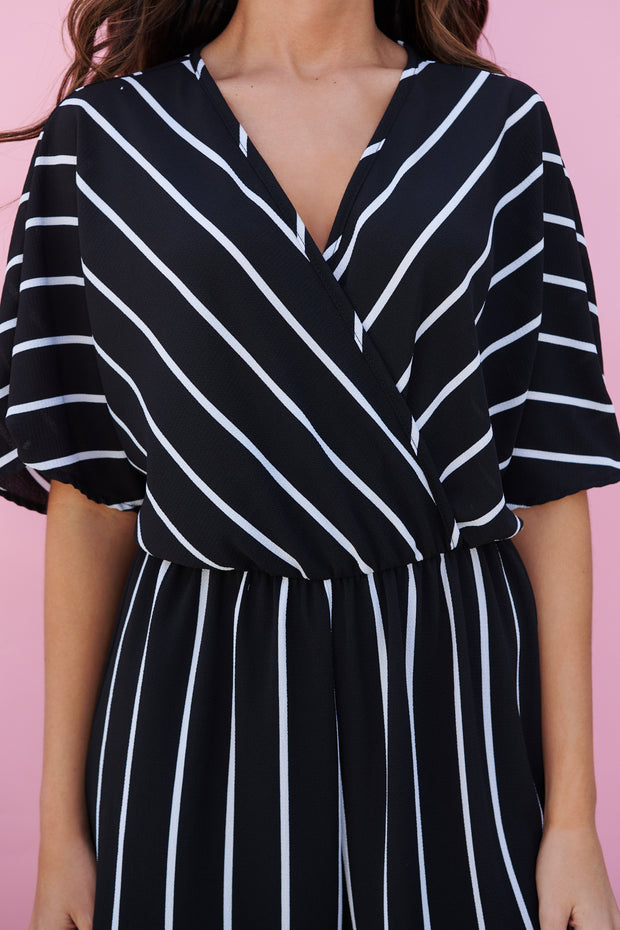 Top Of The Line Striped Jumpsuit (Black/White) - NanaMacs