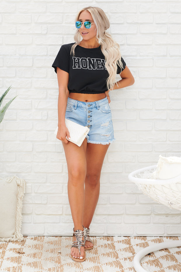 "The ""Honey"" Basic Cropped Top (Black/White Text)"