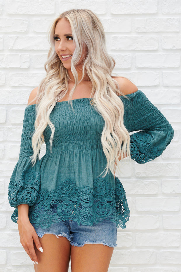 About Time Off The Shoulder Long Sleeve Top (Teal)