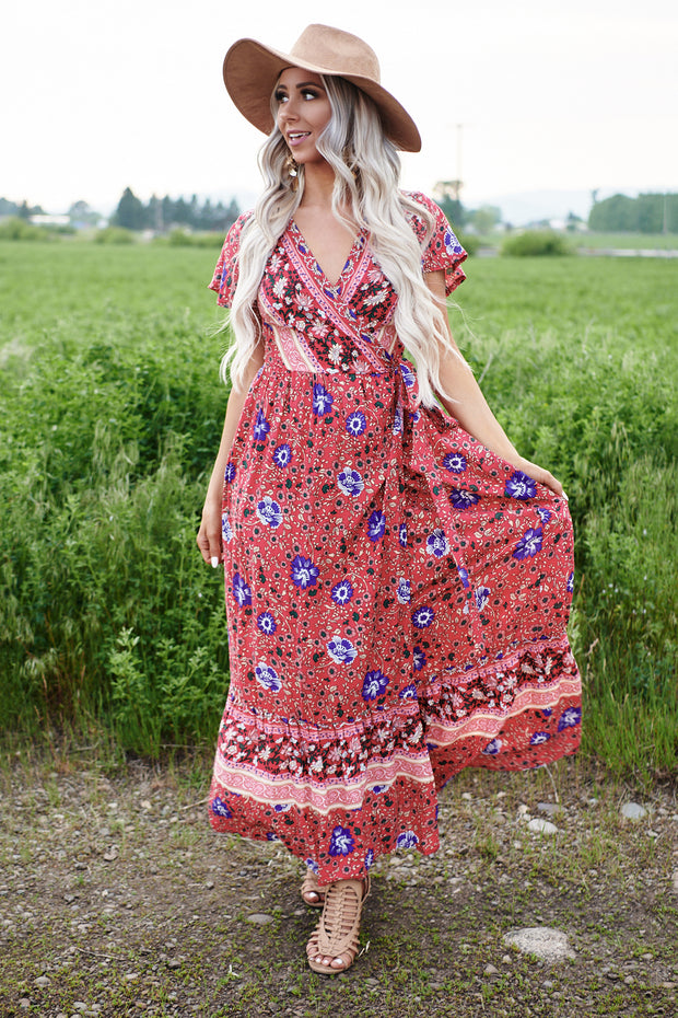 Samara Floral Wrap Maxi Dress (Red) - NanaMacs