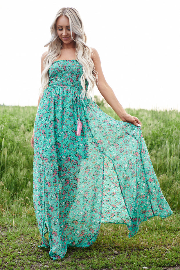 Lainey Strapless Floral Maxi Dress (Green/Multi)