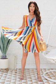 Girl Can Wrap Dress (Multi Stripe)