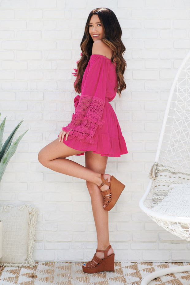 Way Of Love Off The Shoulder Dress (Fuchsia)