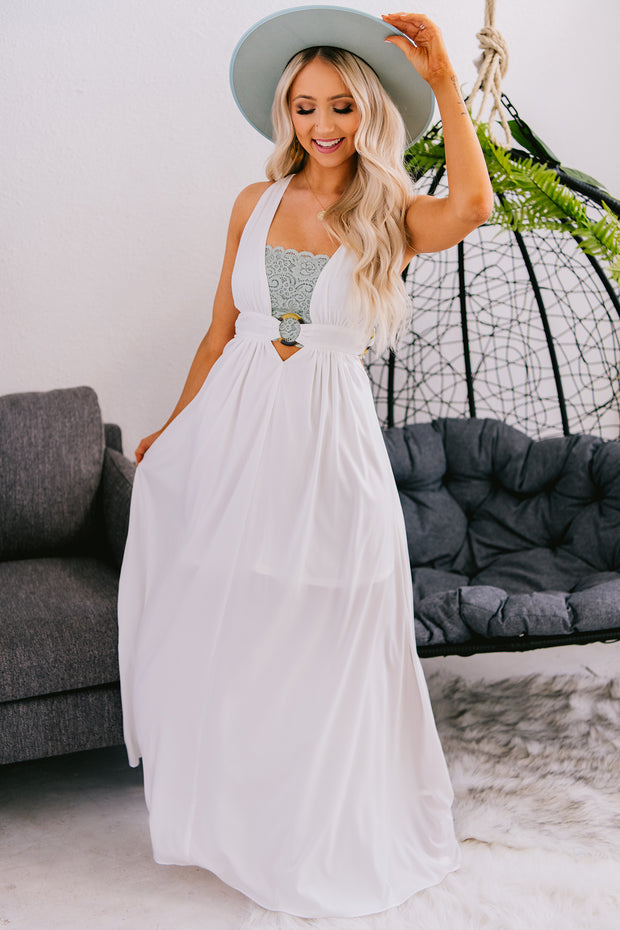 At The Vineyard Plunging Maxi Dress (Off White) - NanaMacs