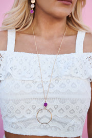 Kristina Statement Necklace (Gold/Hot Pink)