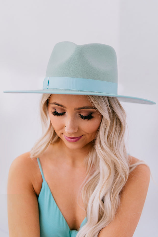 The Wanderer Wide Brim Felt Hat (Mint) - NanaMacs
