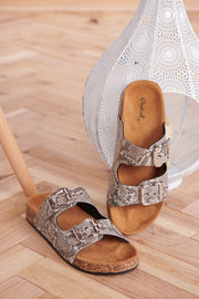 Snake An Impression Sandals (Taupe/Black Snake)