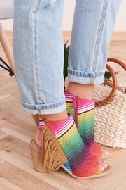 Taste The Rainbow Cutout Booties (Serape)