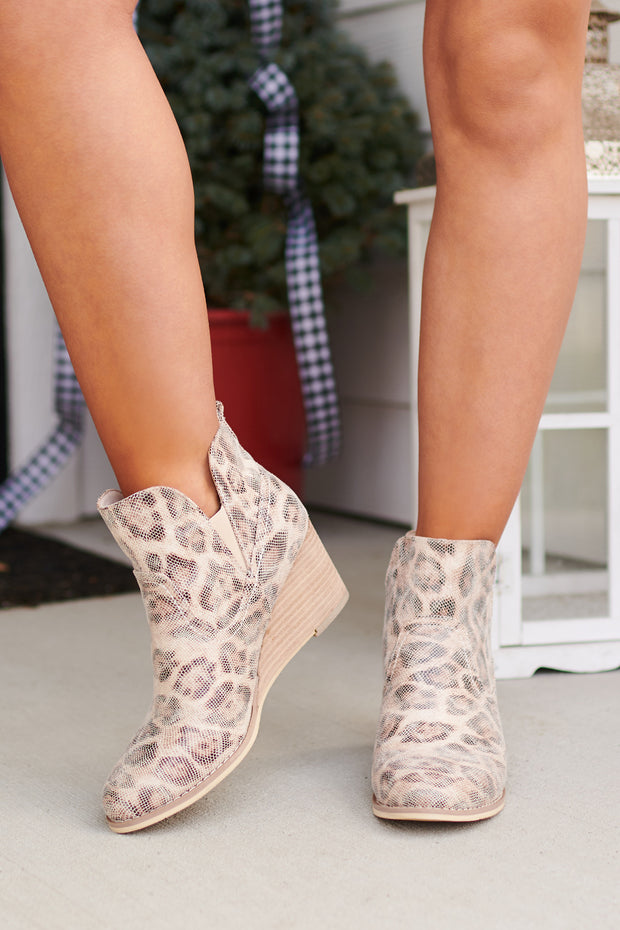 Keep The Party Going Animal Print Wedge Booties (Cream)