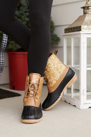 The Good Times Lace Up Sparkle Duck Boots (Gold)