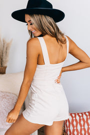 Missed The Point Zip Front Romper (Ecru) - NanaMacs