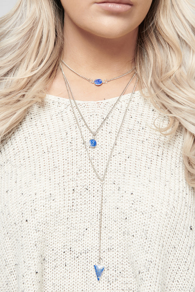 Kensey Multi Layer Necklace (Blue)