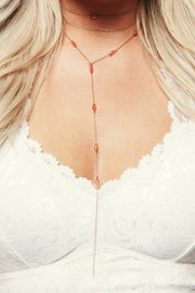 Devon Drop Choker (Antique Gold/Orange) - NanaMacs