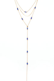 Devon Drop Choker (Antique Gold/Blue)