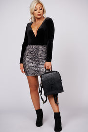 Stay Connected Snake Skin Mini Skirt (Grey)