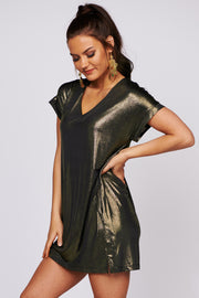 Light Up My Life Metallic Mini Dress (Black)