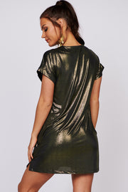 Light Up My Life Metallic Mini Dress (Black) - NanaMacs