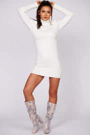 Send You Love Turtle Neck Sweater Dress (Off White) - NanaMacs
