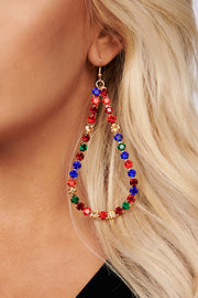Holiday Lights Jeweled Teardrop Earrings (Multi) - NanaMacs
