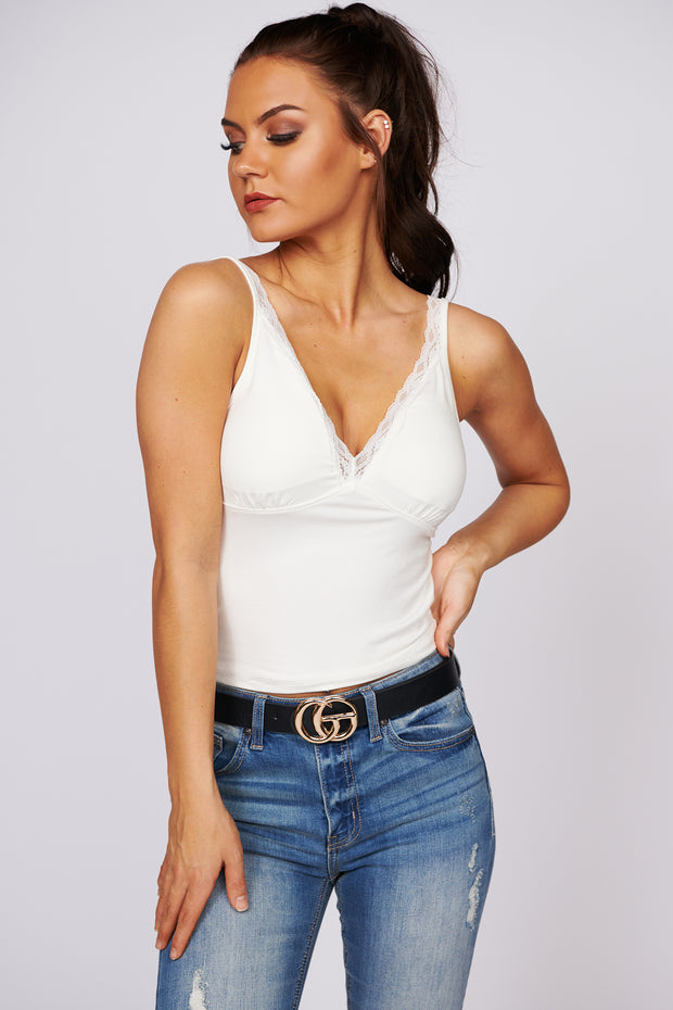 Hold You Close Lace Trim Tank Top (Cream) - NanaMacs