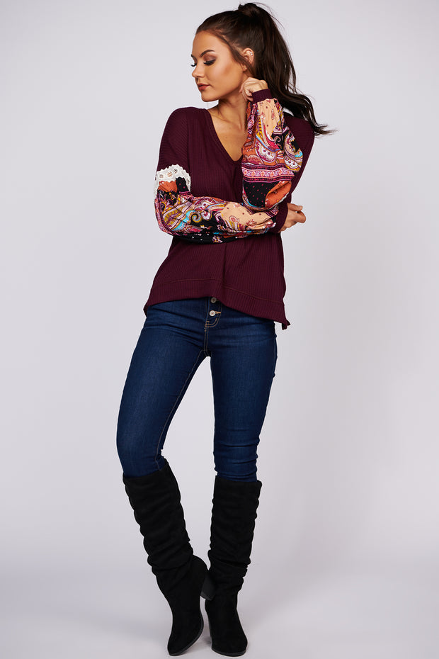 All The Best Long Sleeve Paisley Knit Top (Burgundy) - NanaMacs