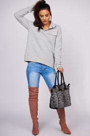 Winter Mornings Quilted Pullover (Heather Grey) - NanaMacs