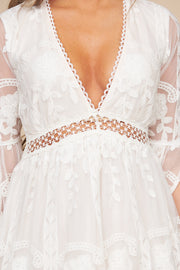 Naturally Radiant Floral Embroidered Boho Dress (Off White)
