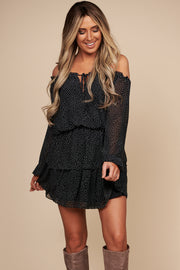 Nothing Comes Easy Off The Shoulder Polka Dot Dress (Black/Off White)