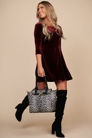 Dealing With It Velvet Swing Dress (Burgundy) - NanaMacs