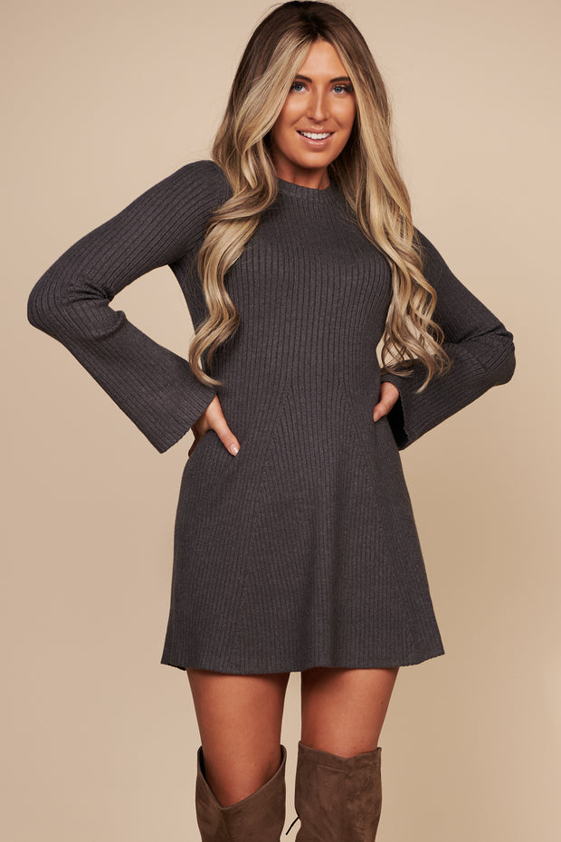 Tell Your Story Long Sleeve Sweater Dress (Charcoal) - NanaMacs